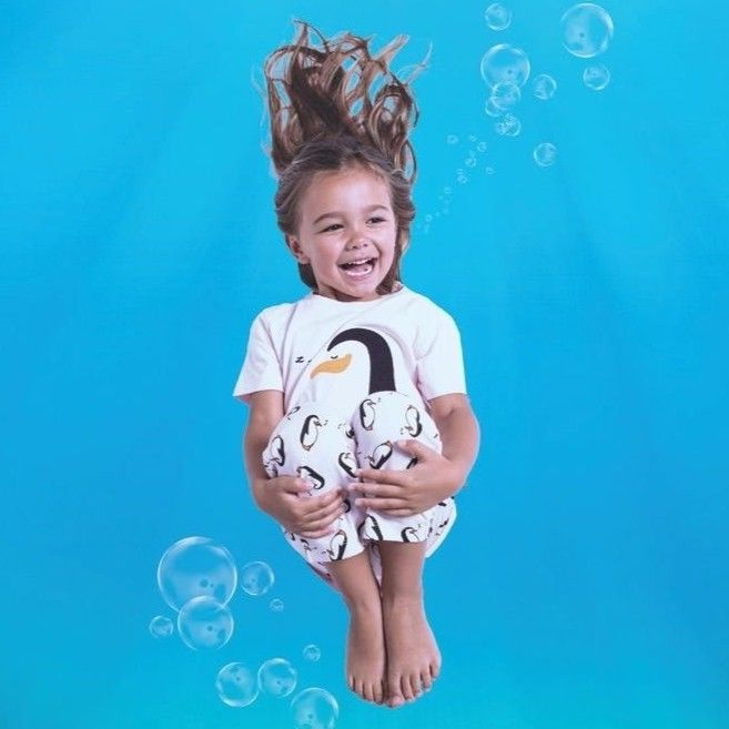 子供用 パジャマ 上下セット ペンギン柄 ピンク 100%オーガニックコットン GOTS認定品