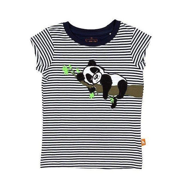 キッズ Tシャツ パンダ ネイビー 100%オーガニックコットン GOTS認定