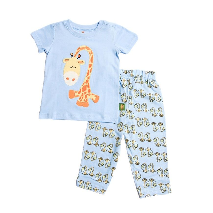 子供用 パジャマ 上下セット キリン ブルー 100%オーガニックコットン GOTS認定