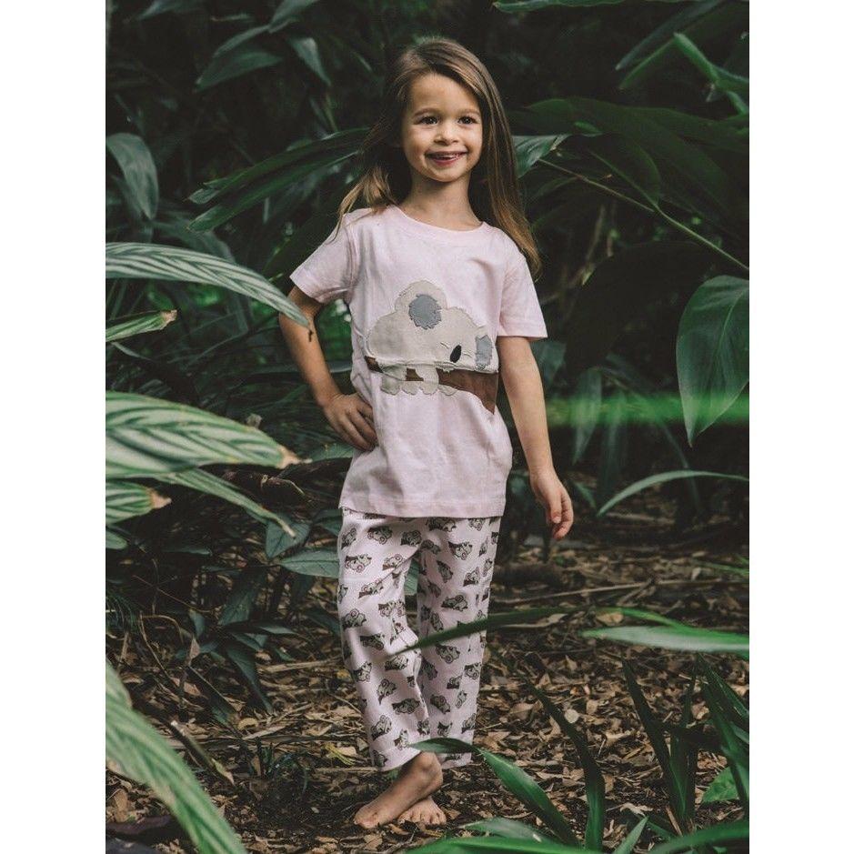子供用 パジャマ 上下セット コアラ柄 ピンク 100%オーガニックコットン GOTS認定品