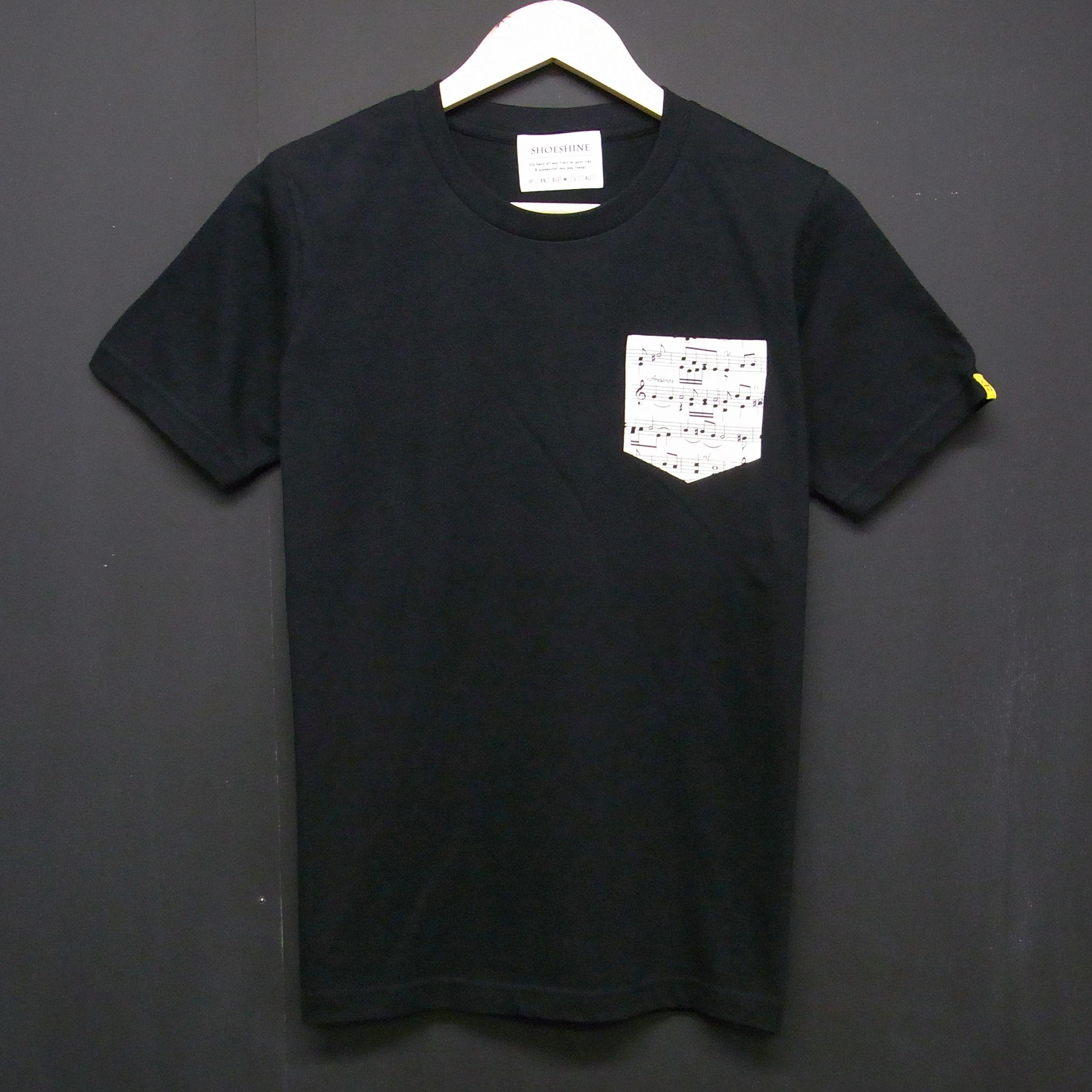 MUSIC - Pocket Tshirts:音符- ポケットTシャツ ブラック