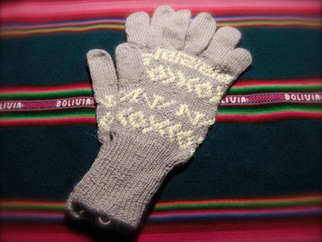 アルパカ100% 手編みてぶくろ 指付き Mサイズ ラベンダー色