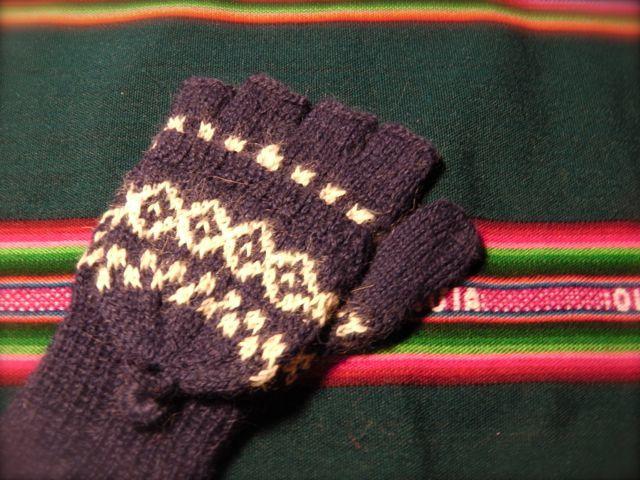 アルパカ100% 手編みてぶくろ 指なし・取り外しできるカバー付き 子供サイズ 紺色