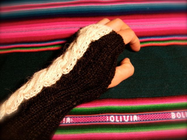 アルパカ100% 手編みゴム編みアームカバー