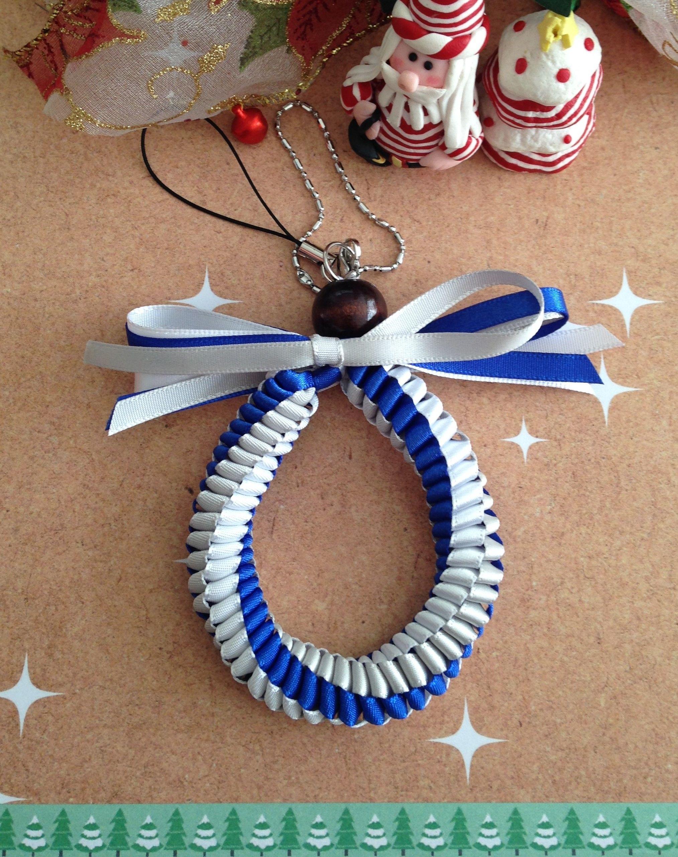 ★ハワイアンリボンレイス トラップ★3色編み ブルー×ホワイト×シルバー★クリスマスオーナメントにも・・・