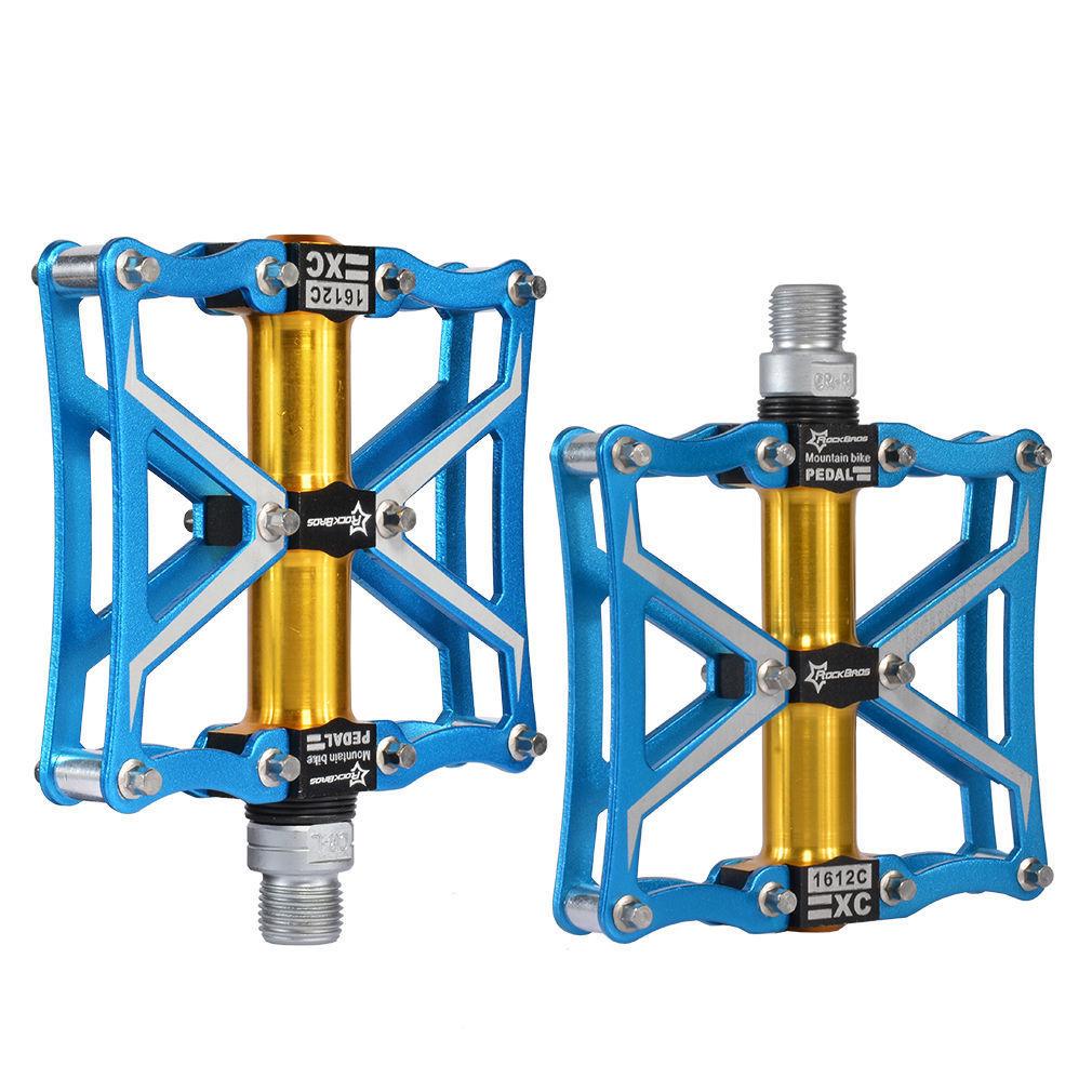 送料無料 自転車ペダル ブルー/ゴールド アルミ合金 プラットフォーム Z4 密封 ベアリング CNC スピンドル ロードバイク ROCKBROS