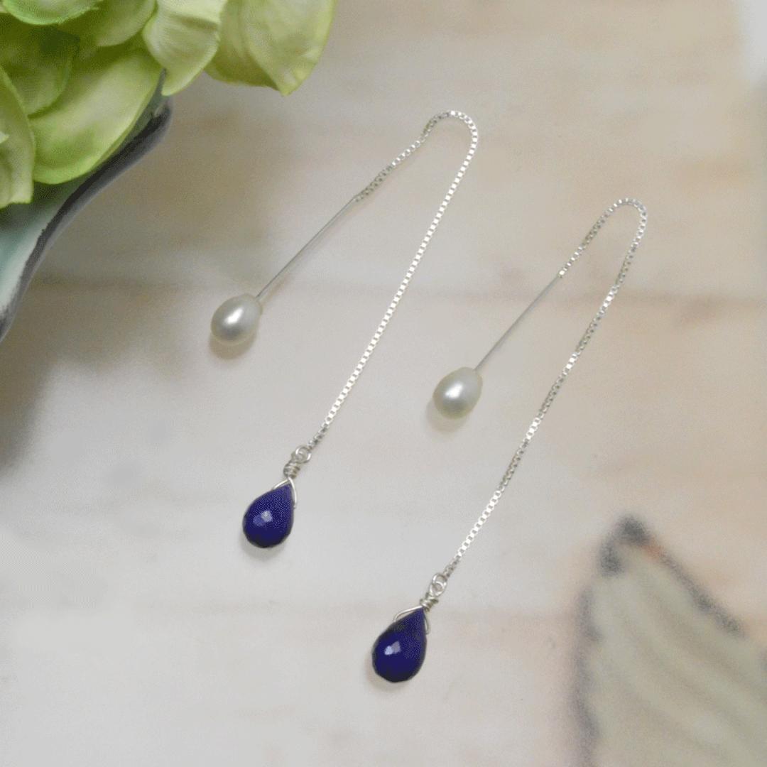 Lapis lazuli pearl ピアス