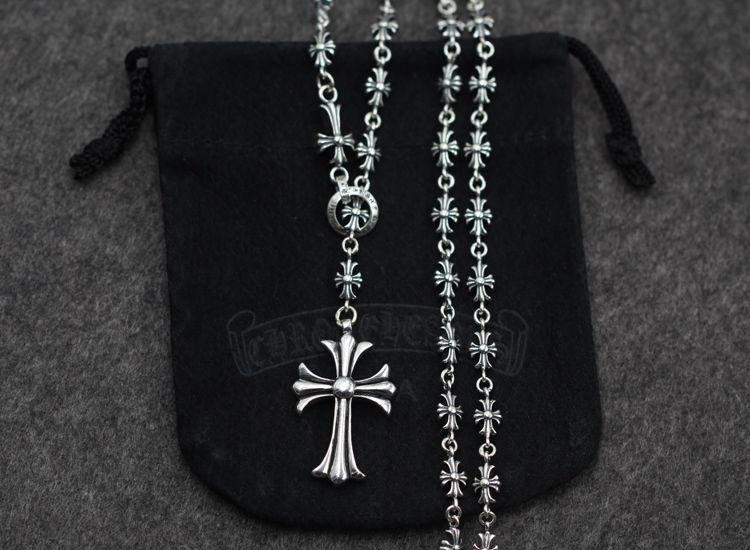 ★CHROME HEARTS クロムハーツ人気ネックレス  シルバー 十字架ペンダントダ 小さいチャーム 55/60CM 男女兼用
