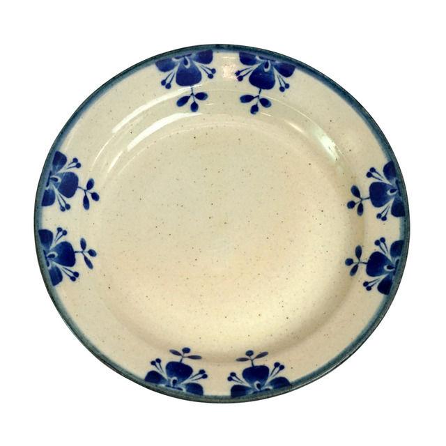 ローズマリー,リム付き18cmプレート,ブルー白マット