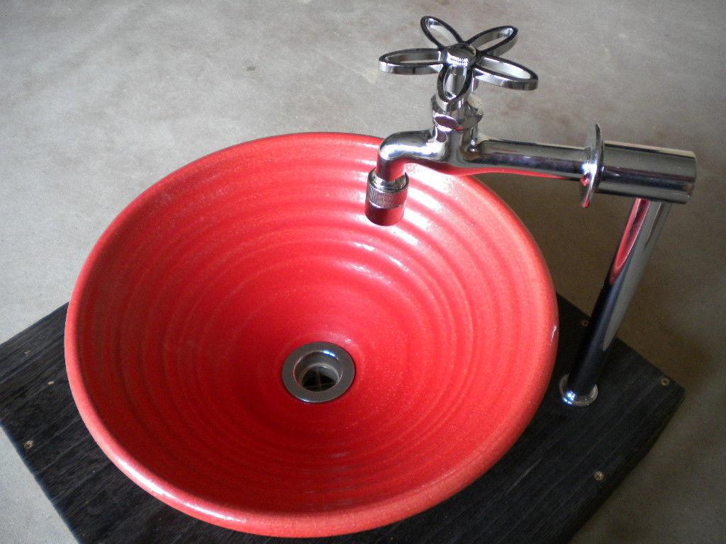 赤ガラス(中)手洗い鉢