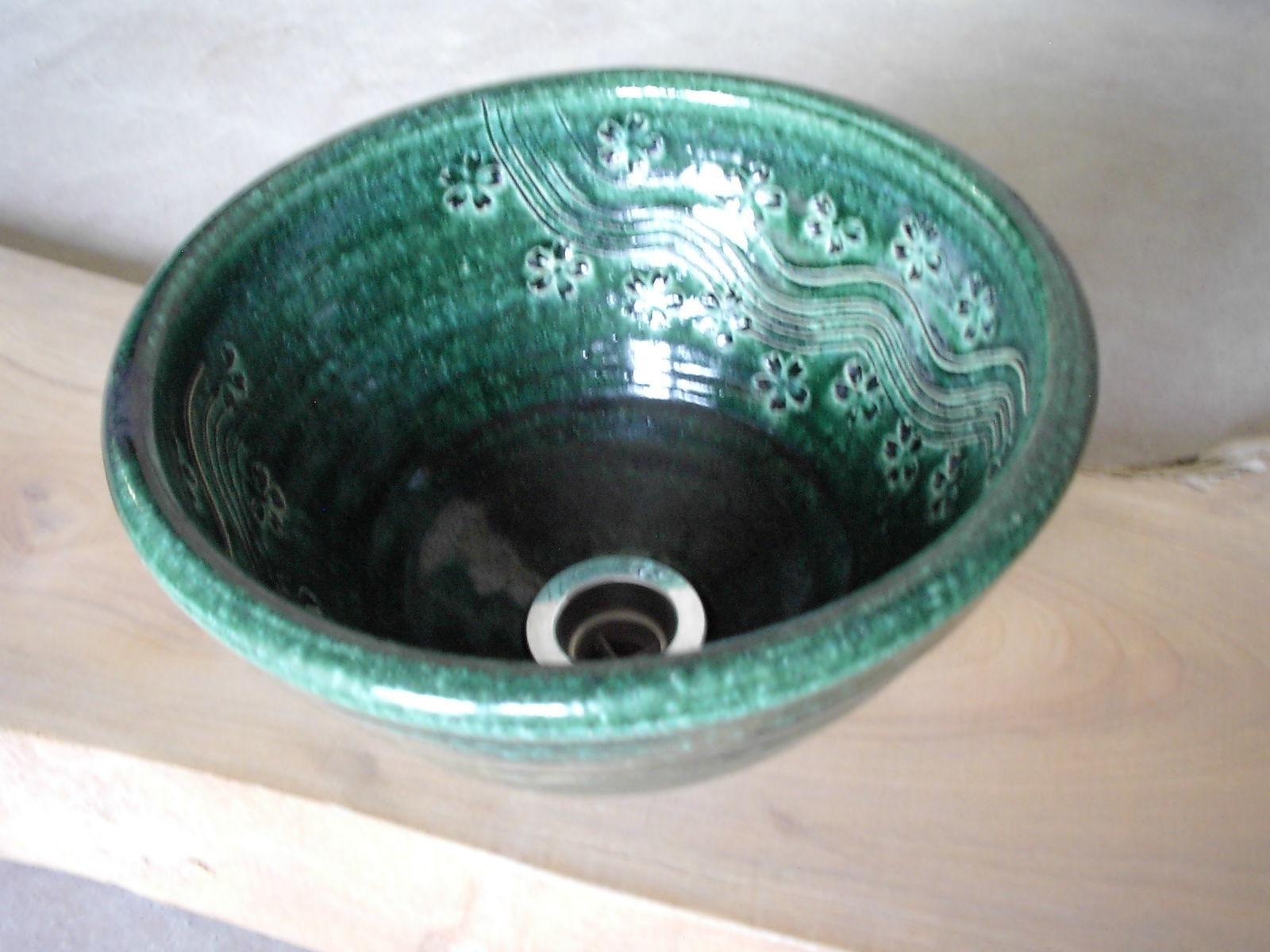 織部桜彫刻(小)手洗い鉢