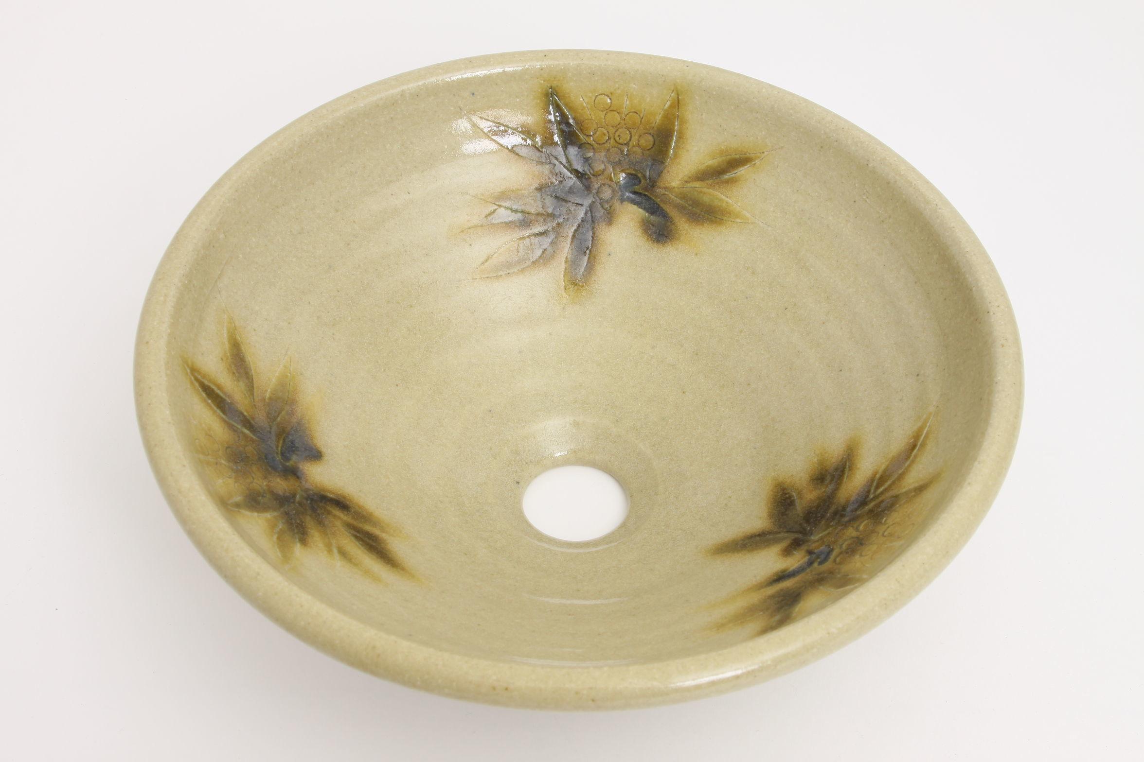 黄瀬戸南天(中)手洗い鉢