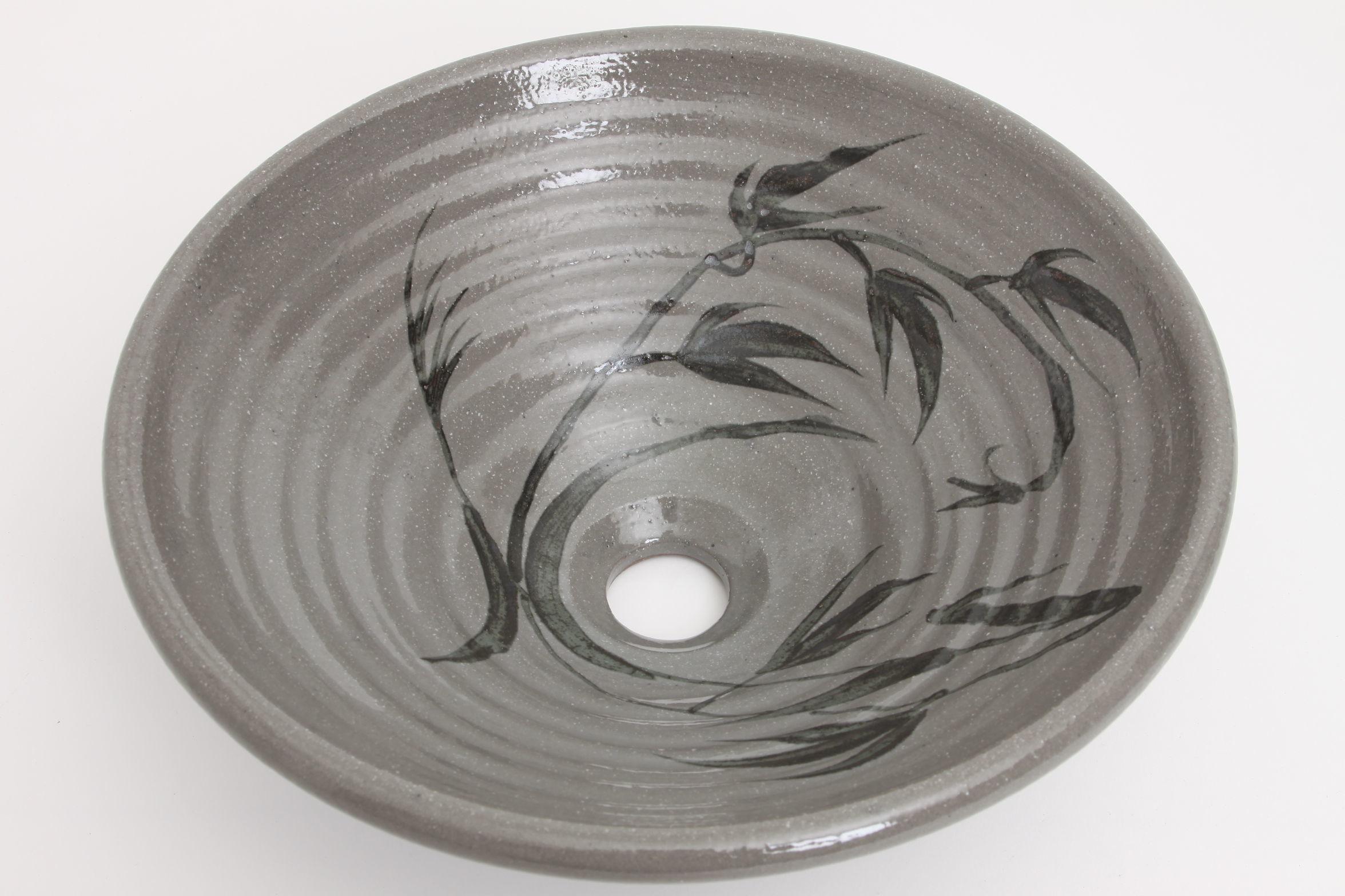 絵唐津草文(中)手洗い鉢
