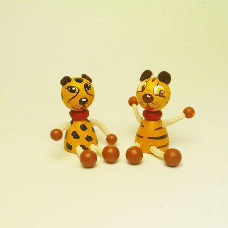 ミニ人形マグネット トラとチーター2体セット