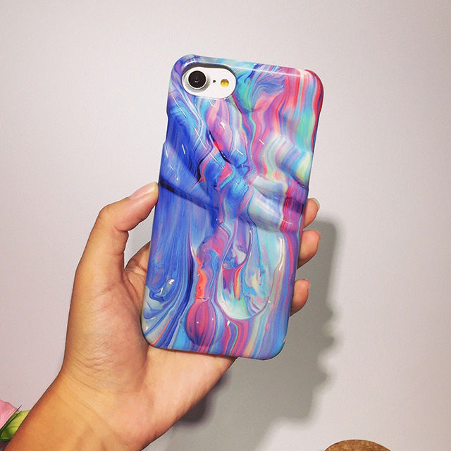 [NW291]★ iPhone 6 / 6s / 6Plus / 6sPlus / 7 / 7Plus / 8 / 8Plus ★ シェルカバー ケース 3D だまし絵 カラフル 絵の具