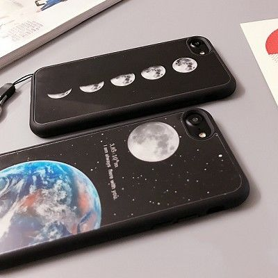 【SI015】★ iPhone 6 / 6s / 6Plus / 6sPlus / 7 / 7Plus ★ ソフト ケース ( 4パターン ) アース&ムーン 月 地球 宇宙 おしゃれ 大人 シンプル
