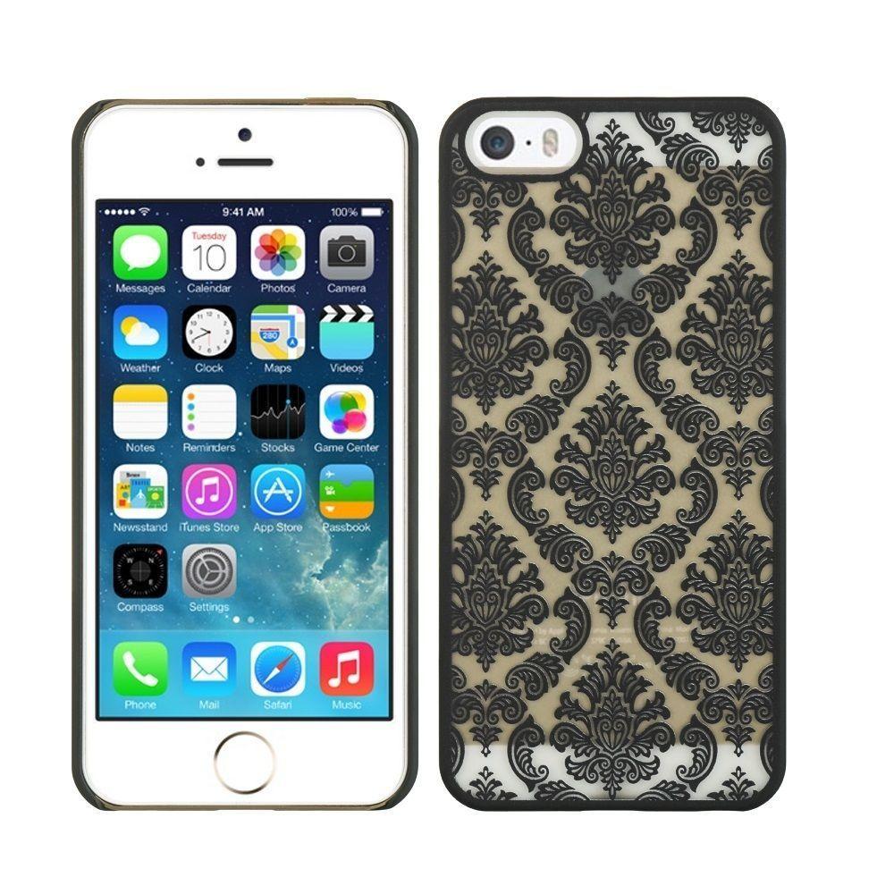 [YS034] iPhone5 /5s ケース レース プリント ハードケース ブラック カバー 大人 かわいい ゴシック アイフォン シック
