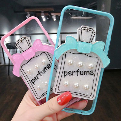 [KS050]★ iPhone 6 / 6Plus / 7 / 7Plus ★ シェル型 ケース ミラー 付 香水瓶 パフューム パール デコ クリア ケース iPhoneケース