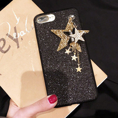 [KS006]★ iPhone 6 / 6Plus / 7 / 7Plus ★ シェル型 ケース レッド ブラック キラキラスター 星のチャーム 重ね付け iPhoneケース