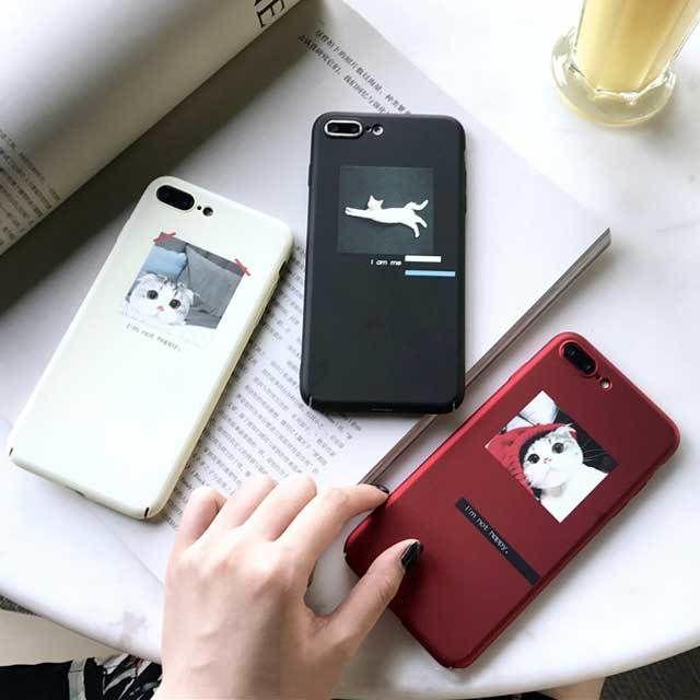 [MD305] ★ iPhone 6 / 6s / 6Plus / 6sPlus / 7 / 7Plus / 8 / 8Plus / X ★ シェルカバー ケース 子猫 可愛い シンプル