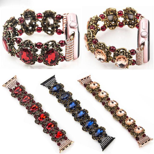 [NW513] ★Apple Watch belt 38mm/42mm ★ アラビアン ジュエリー アップルウォッチ 替えベルト カラーストーン 宝石 ブレスレット