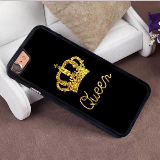 [MD057] ★ iPhone SE / 5 / 5s / 6 / 6s / 6Plus / 6sPlus / 7 / 7Plus / 8 / 8Plus ★ キング クイーン シンプル 可愛い
