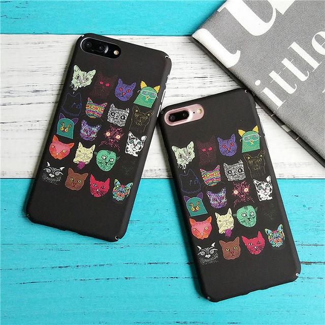 [NW277]★ iPhone 6 / 6s / 6Plus / 6sPlus / 7 / 7Plus / 8 / 8Plus ★ シェルカバー ケース ネコ たくさん アニマル モダン