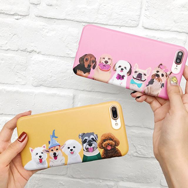 [NW178] ★ iPhone 6 / 6s / 6Plus / 6sPlus / 7 / 7Plus / 8 / 8Plus ★ シェルカバー ケース犬 わんちゃん 集合 イラスト