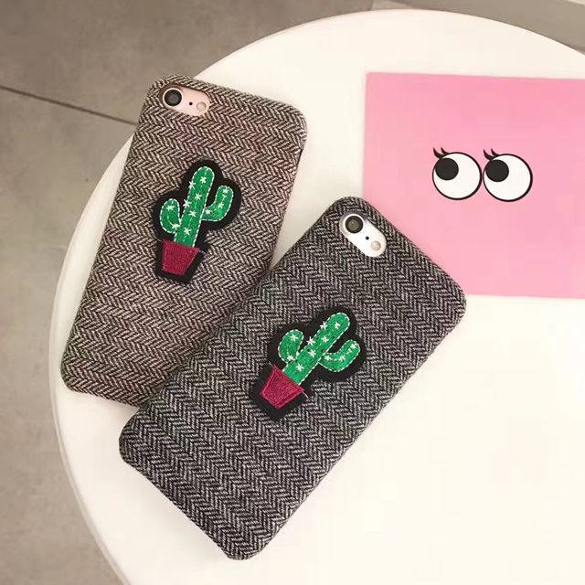 [NW176]★ iPhone 6 / 6s / 6Plus / 6sPlus / 7 / 7Plus / 8 / 8Plus ★ シェルカバー ケース サボテン ワッペン ヘリンボーン