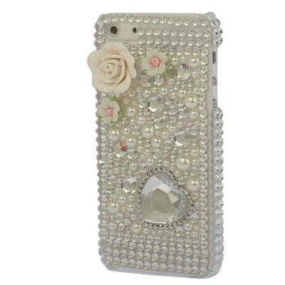 【SS060】薔薇 クリスタル ハート ラインストーン ビジュー プラスチックiPhone5/5sケース ホワイト