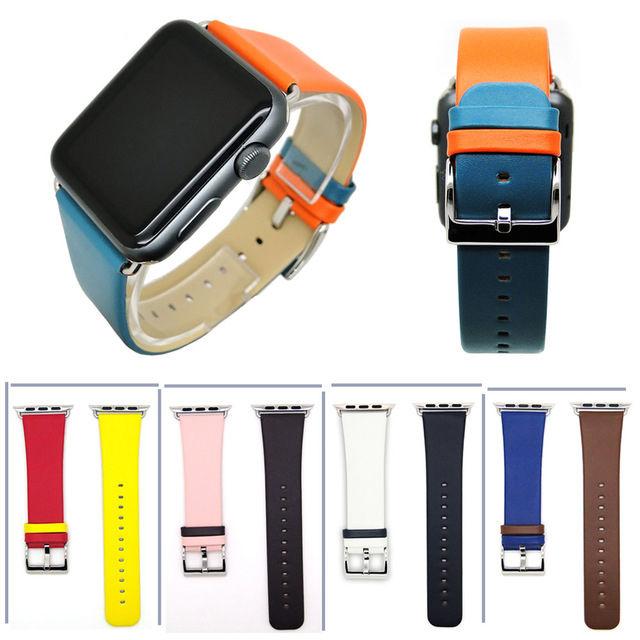 [NW510] ★Apple Watch belt 38mm/42mm ★ バイカラー ツートーン アップルウォッチ 替えベルト バンド 本革  カラーレザー