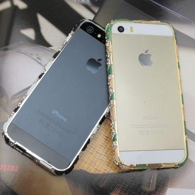 【TH026】★ iPhone 5 / 5s ★ 大人気 アラビアン バンパー 新色 3色 ( グリーン & ベージュ ブラック & ホワイト ブルー & グリーン ) ゴージャス おしゃれ かわいい きらきら ライン ストーン