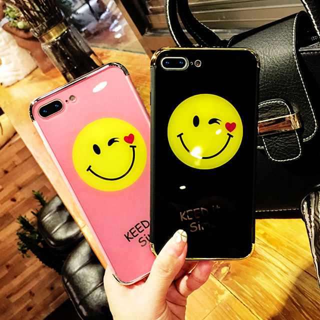[NW485] ★ iPhone 6 / 6s / 6Plus / 6sPlus / 7 / 7Plus / 8 / 8Plus ★ シェルカバー ケース スマイル ウィンク グロス 光沢