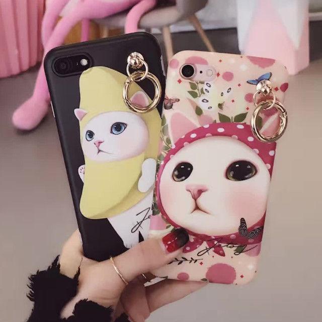 [KS075] ★ iPhone 6 / 6Plus / 7 / 7Plus ★ シェル型 ケース ピンク ブラック かぶりもの 猫 キャット ユニーク かわいい バナナ スカーフ