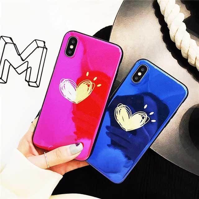 [MD359] ★ iPhone 6 / 6s / 6Plus / 6sPlus / 7 / 7Plus / 8 / 8Plus / X ★ シェルカバー ケース ハート ペア お洒落 カップル