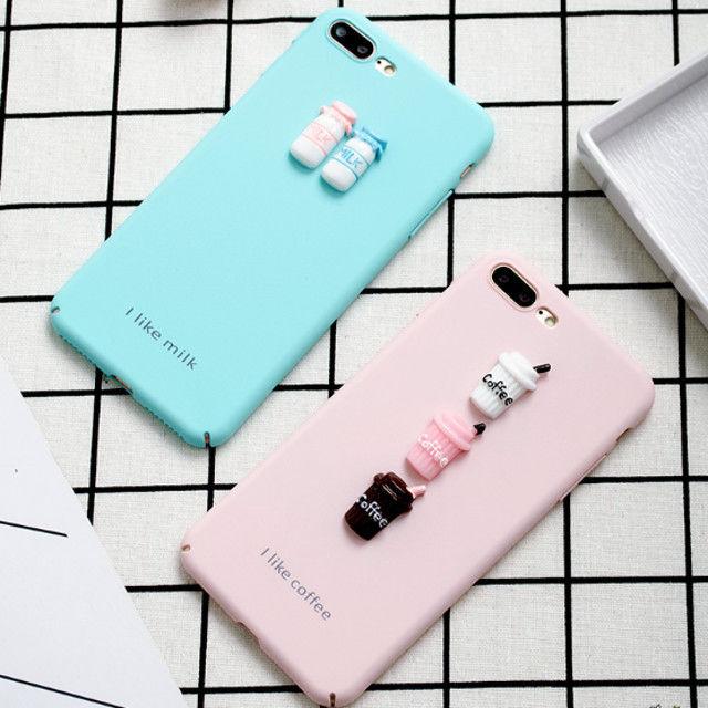 [KS136] ★ iPhone 6 / 6Plus / 7 / 7Plus ★ シェル型 ケース ピンク ライトブルー コーヒー or ミルク 3D プチ モチーフ パステル iPhone ケース