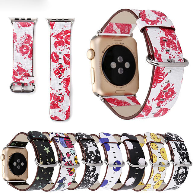 [NW505] ★Apple Watch belt 38mm/42mm ★ 個性派 ポップ カラフル アップルウォッチ 替えベルト バンド スマイル スター スカル