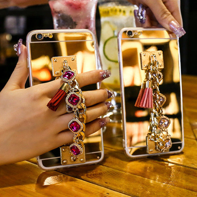 [KS085] ★ iPhone 6 / 6Plus / 7 / 7Plus ★ シェル型 ケース アラビアン カラーストーン ブレスレット 背面ミラー チェーン きらきら アクセサリー 風