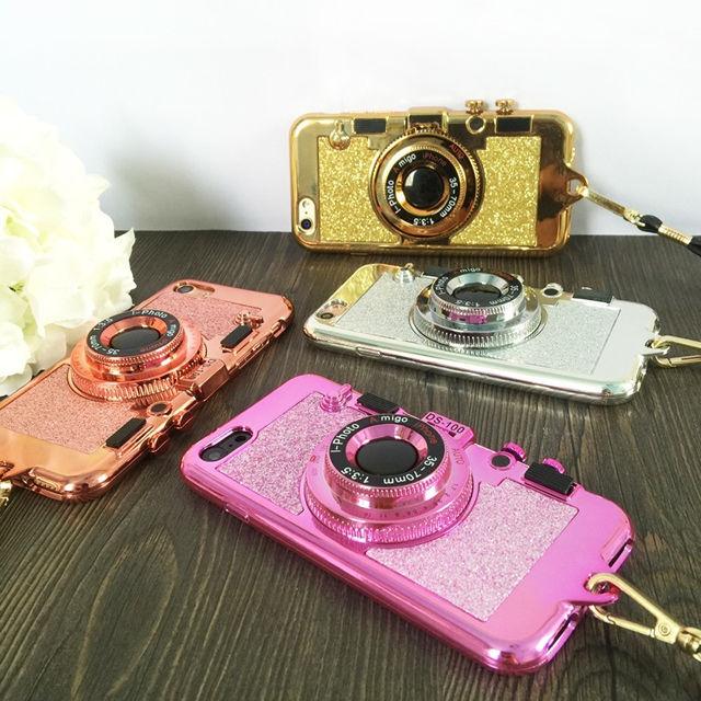 [NW049] ★ iPhone 6 / 6s / 6Plus / 6sPlus / 7 / 7Plus / 8 / 8Plus ★ シェルカバー ケース カメラ型 グリッター ミラー付き