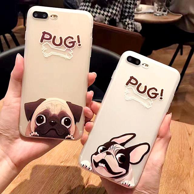 [NW323] ★ iPhone 6 / 6s / 6Plus / 6sPlus / 7 / 7Plus / 8 / 8Plus ★ シェルカバー ケース パグ 犬 ワンちゃん アニマル