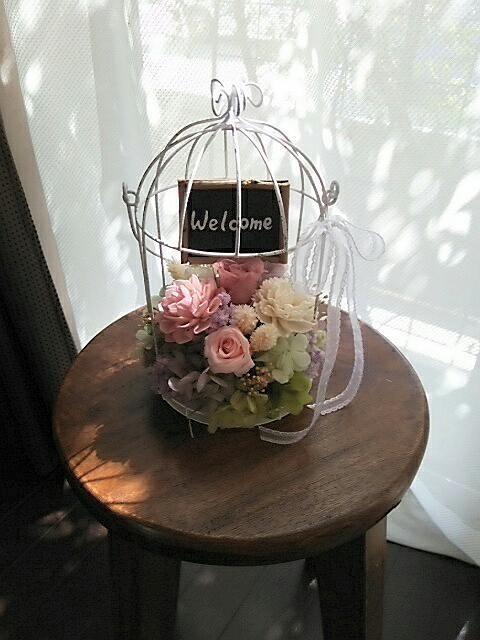 シャビーな鳥かごのパステルアレンジメント  /ピンク系
