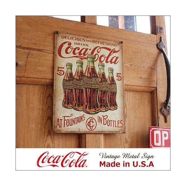 コカ・コーラ 5 Bottle Retro メタル・サイン ブリキ看板 Made in USA/2091