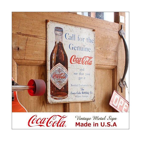 コカ・コーラ Call for Genuine メタル・サイン ブリキ看板 Made in USA/1918