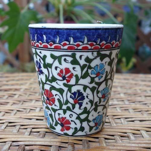 cup-14  手描きのトルコ・キュタフヤ陶器カップ(カーネーション)