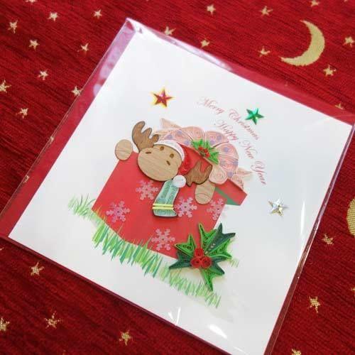 pc34    ★立体的なデザインがかわいい!ベトナムペーパークイリングカード(クリスマス)