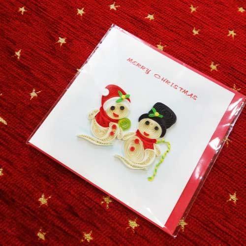 pc38s    ★立体的なデザインがかわいい!ベトナムペーパークイリングカード(クリスマス)  Sサイズ