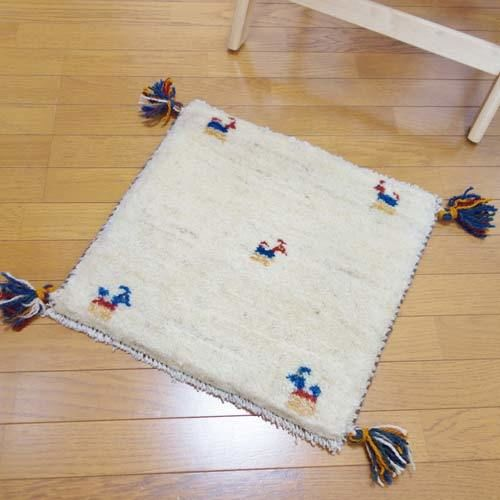 gz-alo4★ギャッベ(GABBEH)手織りのラグ 座布団(動物のモチーフ/アイボリー)