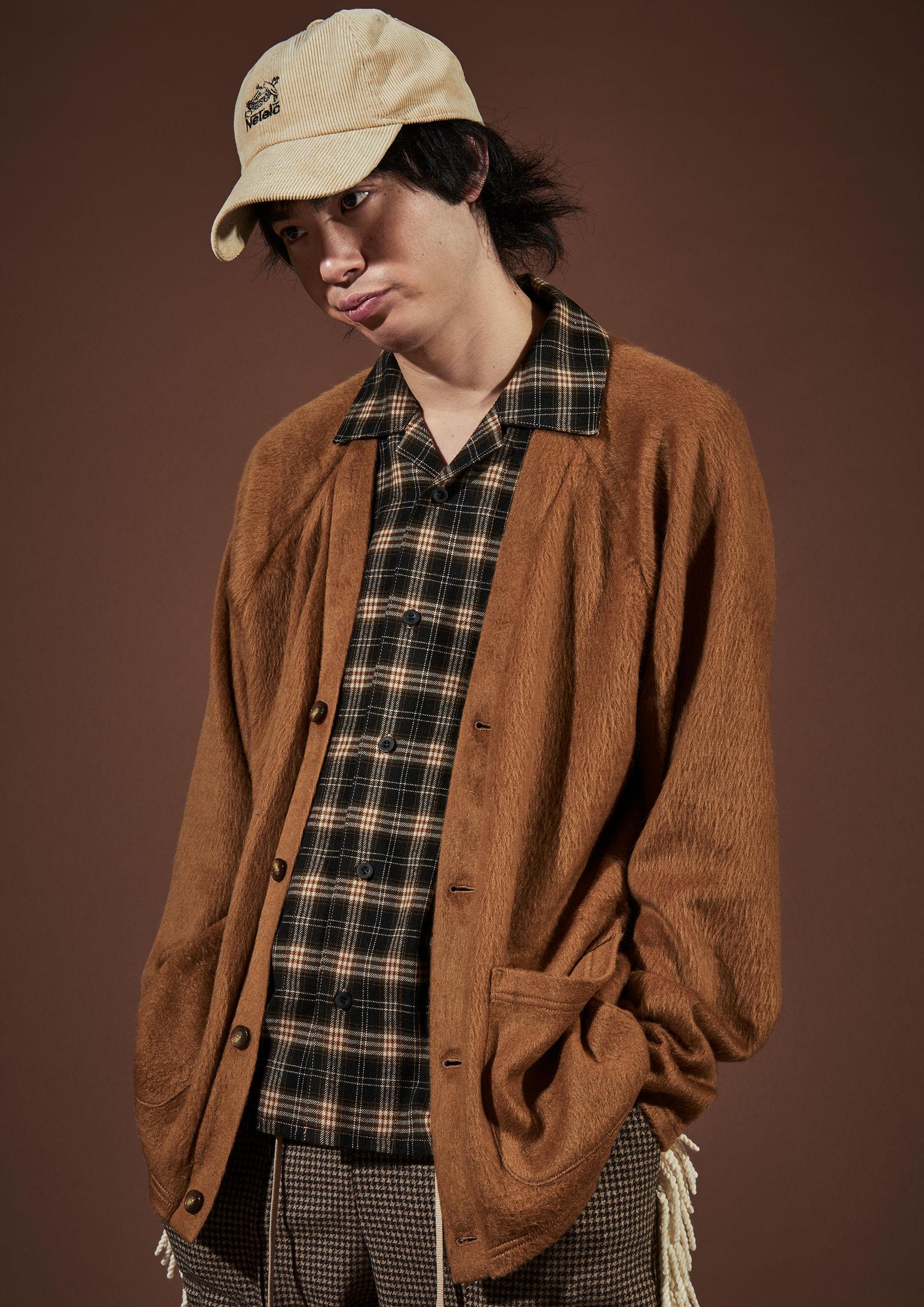 elephant TRIBAL fabrics /   カーディガンシャツ / ブラウン×チェック