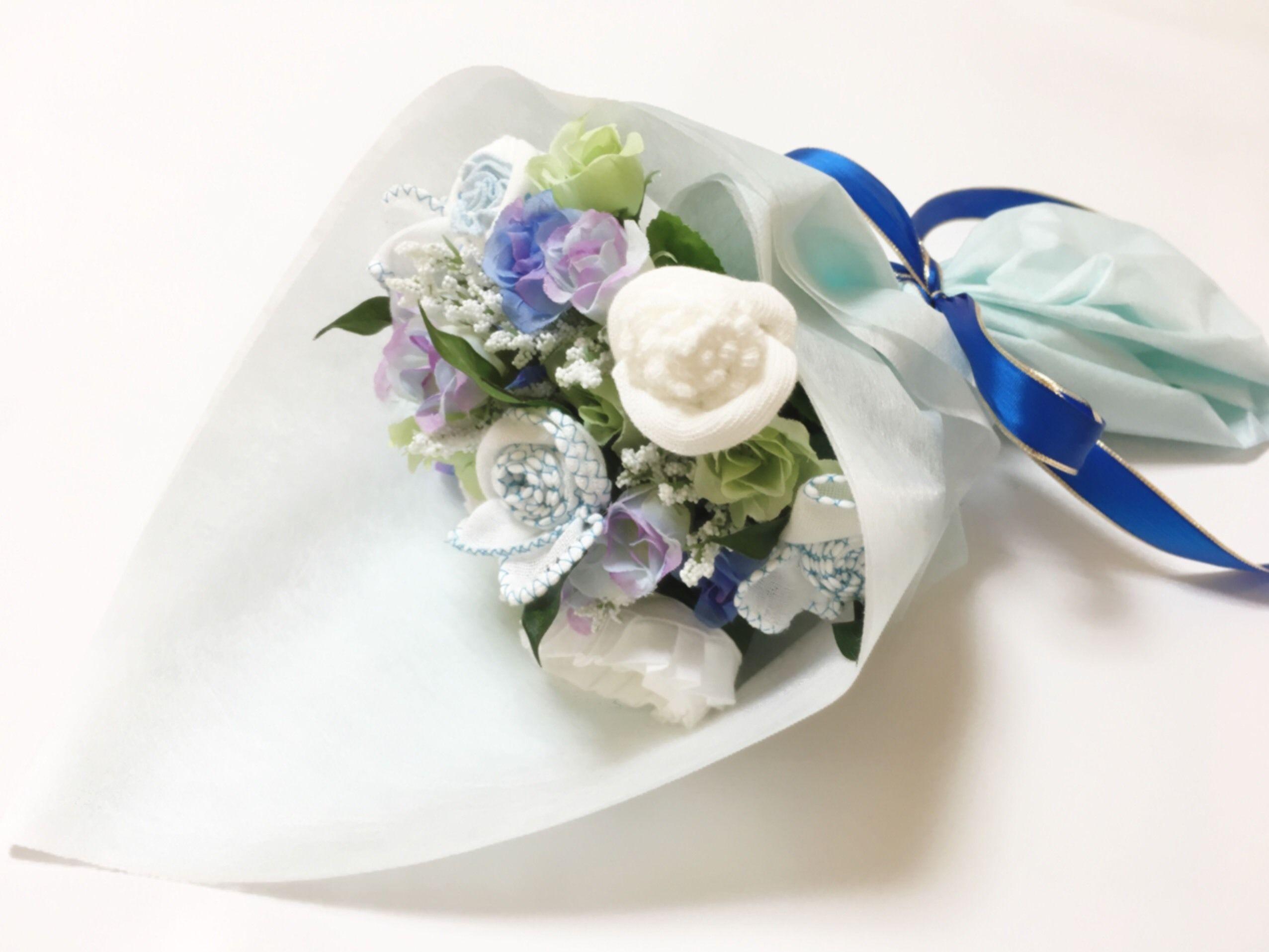 ベビーブーケ 【blue&white P】