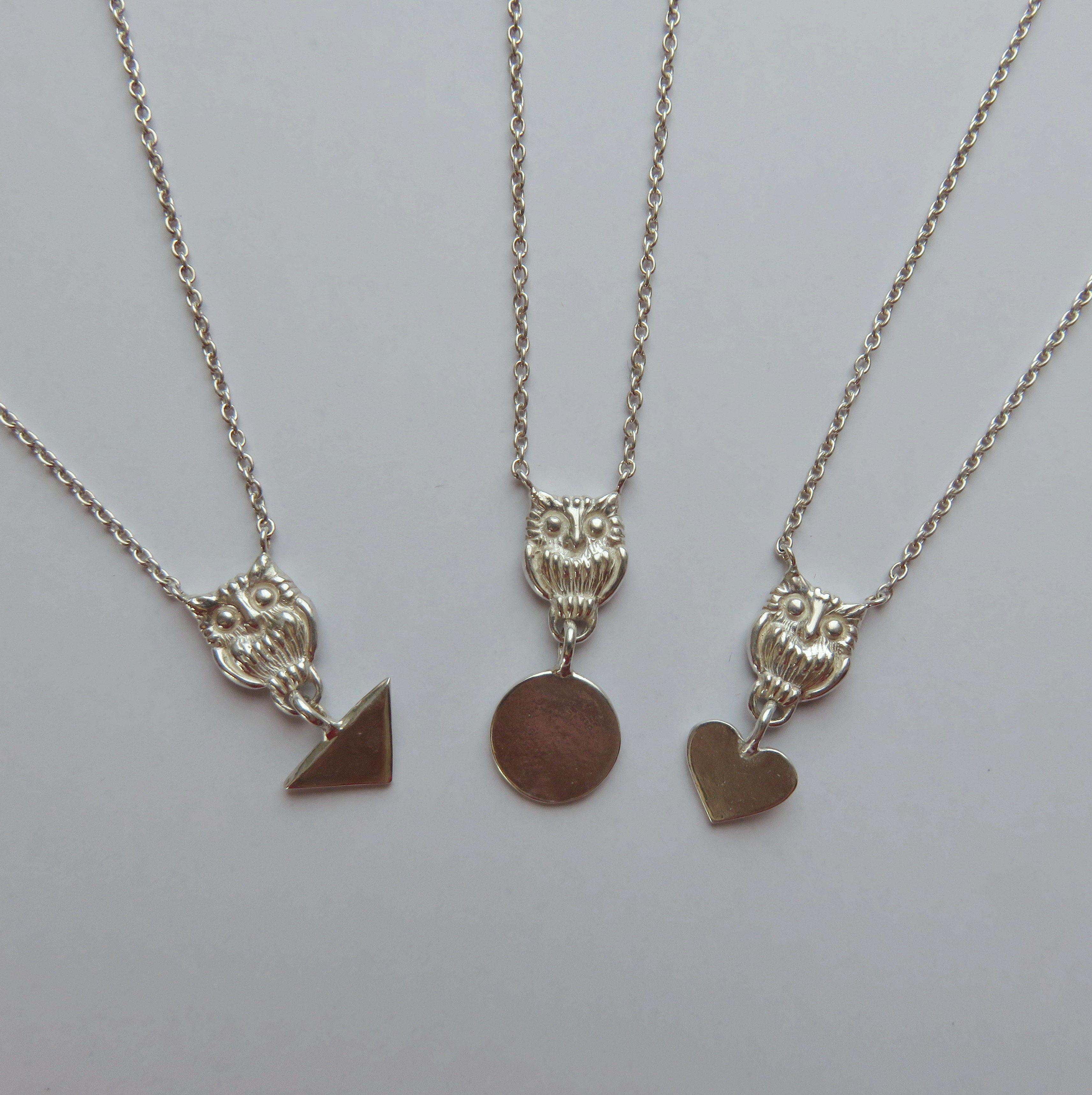 ふくろうネックレス with メッセージチャーム owl necklace